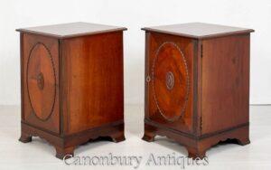 Par de armários laterais vitorianos - mesinhas de cabeceira de mogno 1880