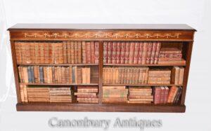 Wide Regency Open Bookcase-Mahogany Innlay Library Study